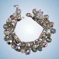 Vintage DeLizza & Elster (D & E, Juliana) Tara Aurora Borealis Fantasia Dangle Bracelet - Book Piece