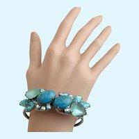 Vintage Faux Turquoise Clamper Bracelet