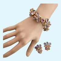 Vintage DeLizza & Elster (D & E, Juliana) Pink and Lavender Rhinestone Bracelet and Clip Earrings