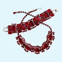 Vintage DeLizza & Elster (D & E, Juliana) Red Rhinestone Necklace and Bracelet Set