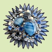 Vintage DeLizza & Elster (D & E, Juliana) Starburst Blue Striped Cabochon and Rhinestone Circular Brooch / Pin - Book Piece