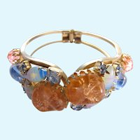 Vintage DeLizza & Elster (D & E, Juliana) Peach and Blue Clamper Bracelet