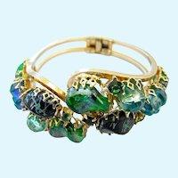 Vintage Green Molded Glass and Lucite Clamper Bracelet