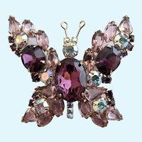 Vintage Rare Delizza & Elster (D&E or Juliana) Crystal Rhinestone Butterfly Brooch