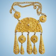 Vintage Kenneth Lane Massive Ethnic Style Gold Tone Pendant Necklace