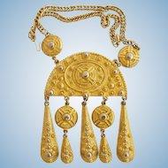 Vintage Kenneth Lane Massive Ethnic Style Gold Tone Pendant Necklace
