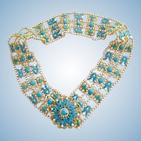 Vintage KJL Bejeweled Faux Turquoise Gold Tone Wide Belt – Medium