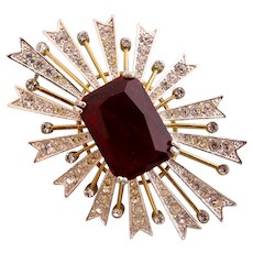 Vintage KJL Kenneth J Lane Red Crystal Starburst Brooch