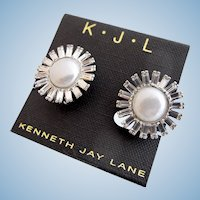 Vintage KJL (Kenneth J Lane) Faux Pearl and Rhinestone Clip Earrings