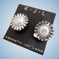 Vintage KJL (Kenneth J Lane) Faux Pearl and Rhinestone Clip Earrings