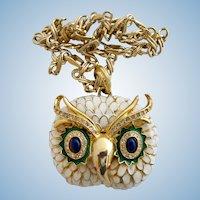 KJL Kenneth Lane White Enamel Owl Pendant Necklace