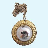 Vintage Kenneth Lane Large Faux Hematite Pendant Necklace
