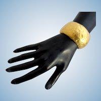 Kenneth Lane Hammered Gold Tone Hinged Cuff Bracelet