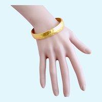 Vintage Kenneth C. Lane Hammered Gold Plated Bangle Bracelet