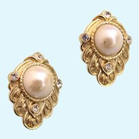 "Vintage KJL for Avon ""Renaissance Collection"" Pierced Earrings"