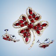 Hobe Red Rhinestone Shamrock Brooch and Earring Set