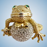 Vintage Kuo Clear Rhinestone Frog Brooch