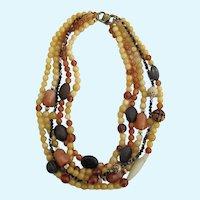 Vintage Alice Kuo Asian Influenced Semi Precious Bead Necklace