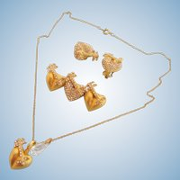Vintage Linda Levinson Rhinestone Heart Pendant, Brooch and Clip Earring Parure Set