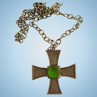 Vintage La Roco Brass Tones Cross Pendant Necklace