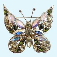 Vintage La Roco Yellow and Green Rhinestone Butterfly Brooch