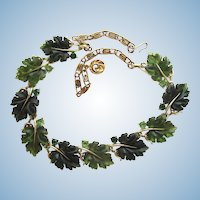 Vintage LIsner Green Oak Leaf Necklace.