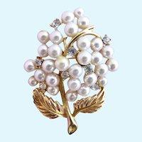 Vintage Lisner Faux Pearl Flower Brooch