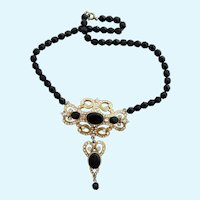Vintage Mandle Victorian Revival Style Black Glass Bead and Rhinestone Dangle Necklace