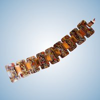 Vintage Unsigned Matisse Enamel Fall Colors Copper Plated Bracelet