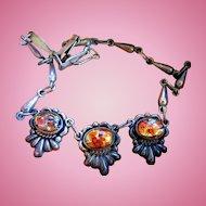 Vintage Mexico Silver Foil Glass Choker Necklace