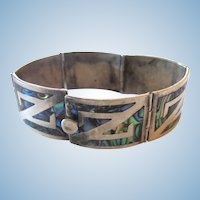 Sterling Silver Abolone Panel Bracelet - Taxco Eagle 3 Mark