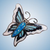 Vintage Mexico Jose Frederico Sterling Enamel Butterfly Pin - Eagle 3 Mark