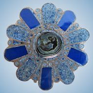 Vintage Taxco Mexico Inlaid Stone and Abalone Sterling Flower Pin / Pendant