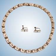 Vintage Margot de Taxco Silver Champleve Enamel Necklace and Earring Set