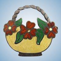 Vintage Sterling JF Mexico Guilloche Enamel Flower Basket Pin - Eagle 3 Mark