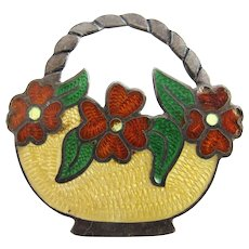 Vintage Sterling JF Mexico Guilloche Enamel Flower Basket Pin - Eagle 3 Mark