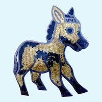 Vintage Sterling Silver Enamel Donkey Pin by JF Mexico
