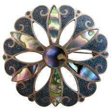 Vintage Los Ballesteros Taxco Abalone Flower Pin - Eagle Mark