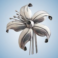 Vintage Mexican Silver Maricela Lily Flower Brooch -  Book Piece