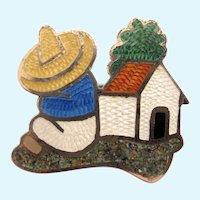 Vintage JF Jeromimo Fuentes Mexico Sterling Folk Scene Pin