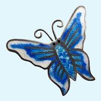 Vintage Taxco Mexico Sterling Silver Blue Enamel Butterfly Brooch by 'JF'