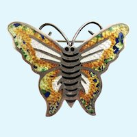 Vintage JF Jeromimo Fuentes Mexico Sterling Enamel Butterfly Pin