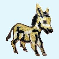 VIntage Jeronimo Fuentes (JF) Mexico Sterling & Yellow Enamel Donkey Pin