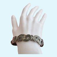 Vintage Los Castillo Sterling Silver Taxco Mexico Bracelet - Double Loop Design #832