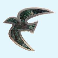 Vintage Los Castillo Sterling Silver Mosaic Inlay Bird Brooch #17