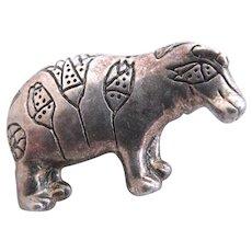 Vintage MMA (Metropolitan Museum of Art) Silver Toned Hippo Pin