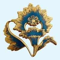 Vintage MMA (Metropolitan Museum of Art) Gold Plated and Blue Enamel Flower Brooch