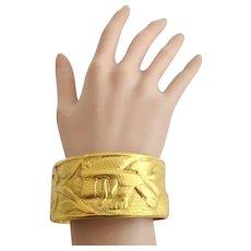 Vintage 1978 MMA (Metropolitan Museum of Art) King Tut Exhibit Wide Figural Bangle Bracelet - Rare