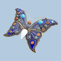 Vintage 1992 MMA CLEO Silver Enamel Butterfly Brooch