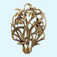Vintage Metropolitan Museum of Fine Arts (MFA) Iris Flower Gold Tone Brooch
